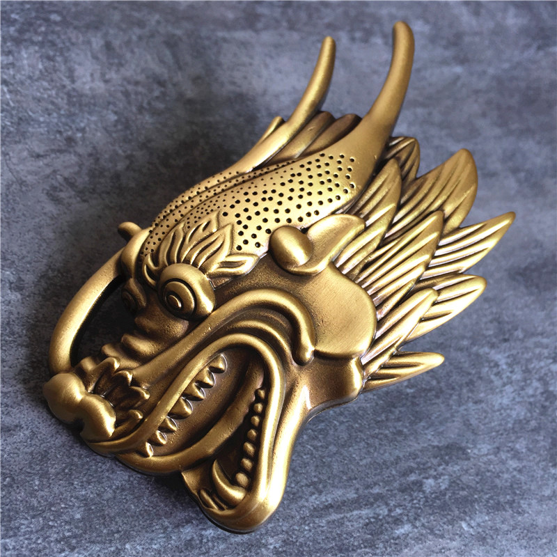 Big Dragon Head Belt Buckle Top Quality Solid Brass Belt Buckle For Leather Men Belt Luxury DIY Accessories Belt Buckle BK0108