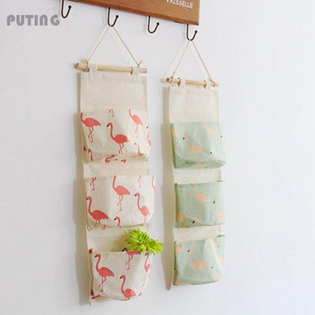 Ins Style Flamingo Cartoon Door Hanging Bag Cotton Hanging Organizer Wall  Pockets On Window Stationery Cosmetics