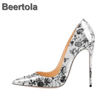 Patent Leather White Wedding Shoes Woman High Heel Party Shoes Flower Cloud Women Shoes Pumps Large Size 46 Business Dress Shoes стоимость