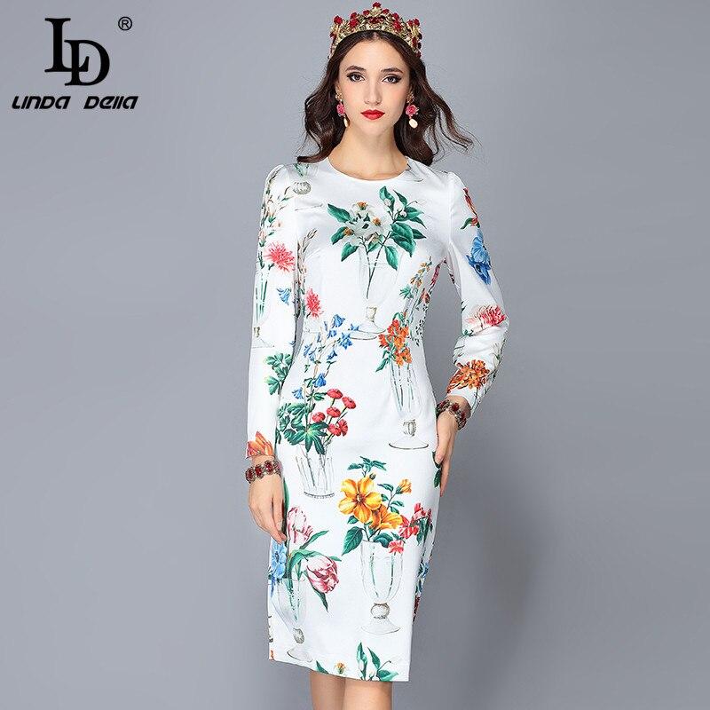 LD LINDA DELLA Piste Designer Printemps Robes de Femmes à manches longues décontracté Partie Blanc Imprimé Floral Midi robe slim robes