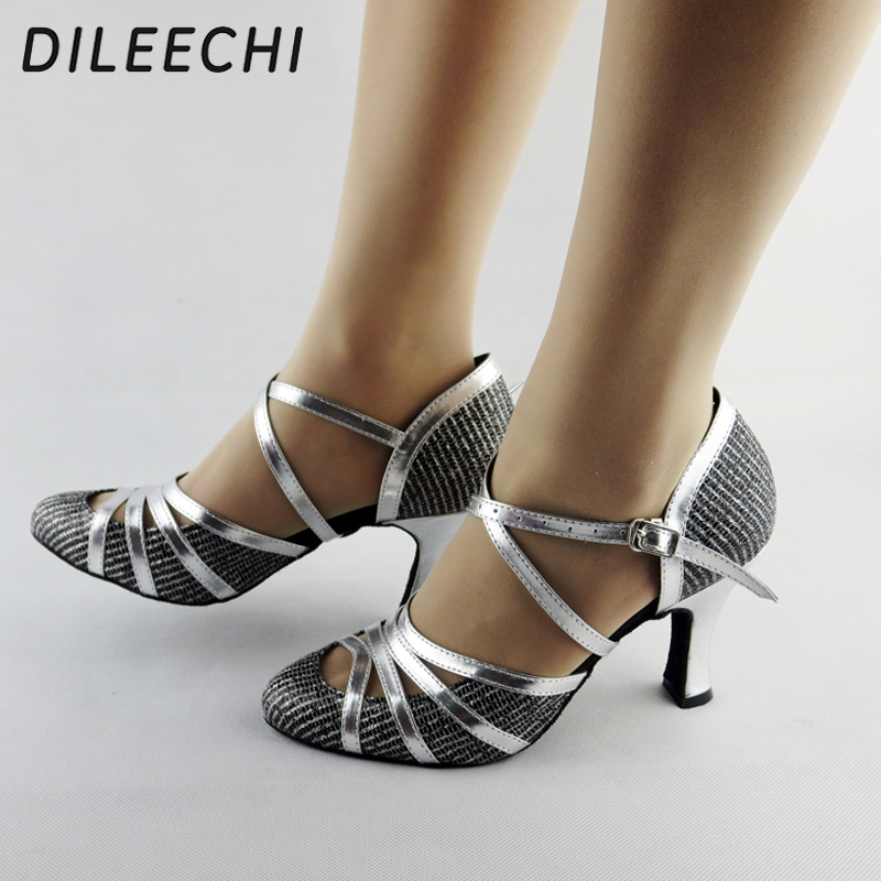 DILEECHI Winter And Autumn Quality Pearl Net Latin Modern Dance Shoes Ballroom Dancing Shoes Soft Outsole Tango Waltz Shoes