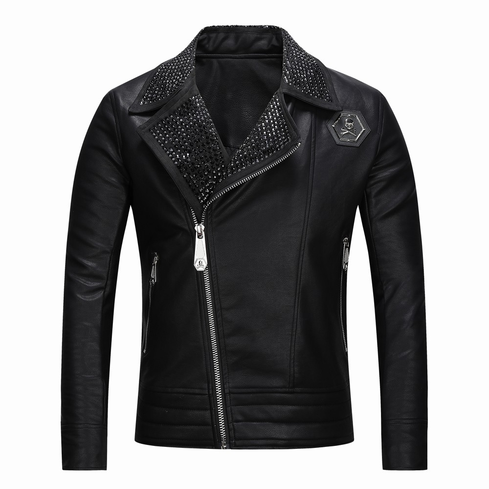 Metal Logo brand Motorcycle PU Leather Jackets Men Leather Coat Casual Slim Coats Zipper Man Outerwear Faux Fur Jackets Jaqueta