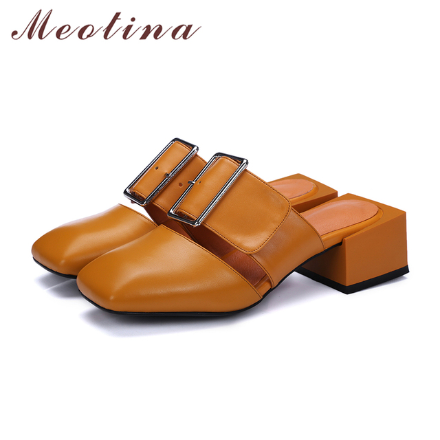 Meotina Design Shoes Genuine Leather Sandals Square Toe Buckle Mules Shoes Mid Chunky Heels Slides Summer Slippers Yellow 34-39