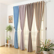 85% Blackout Curtain Bedroom Striped Window Panels Blue Suede Curtain Fabric Cotton Linen Tulle Insulated Thermal Curtains Soft