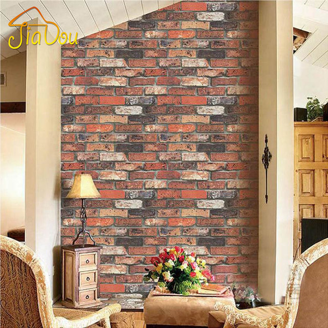 Vintage red brick wall paper 3d stereo stone brick pattern Red brick wallpaper living room
