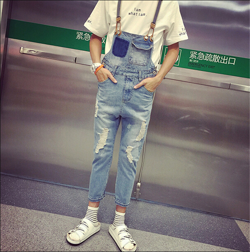 2015 Spring Summer Fashion Casual Men s Ripped Hole Denim Bib Pants Man Cool Stylish Jeans