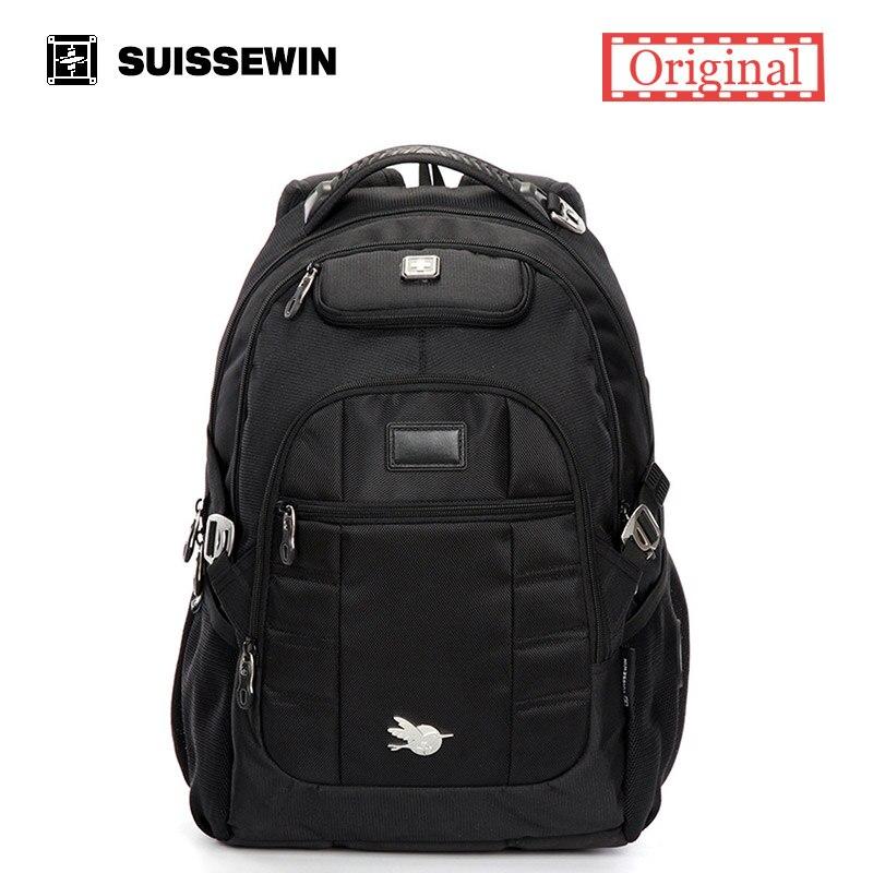 все цены на 2017 Suissewin Brand Men Laptop Backpack Bag Swiss Orthopedic Backpack Male Cool Backpack For Teenagers Rucksack mochila escolar онлайн