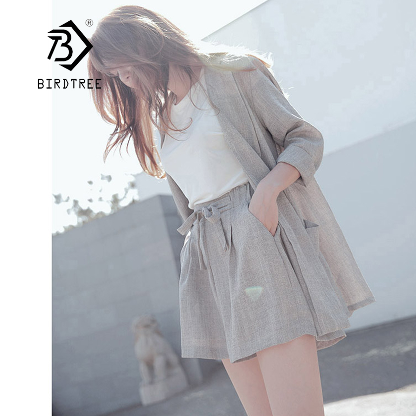 2018 New Summer OL Cotton and Linen Two Piece Sets Solid Suit Jacket+Short Pant Set Single Button Loose Suit Hot Sale S83420F