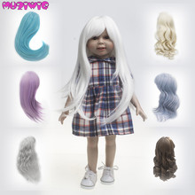 Doll Wigs High Temperature Wire Long Brown White Purple Khaki Hair for 18 inch American