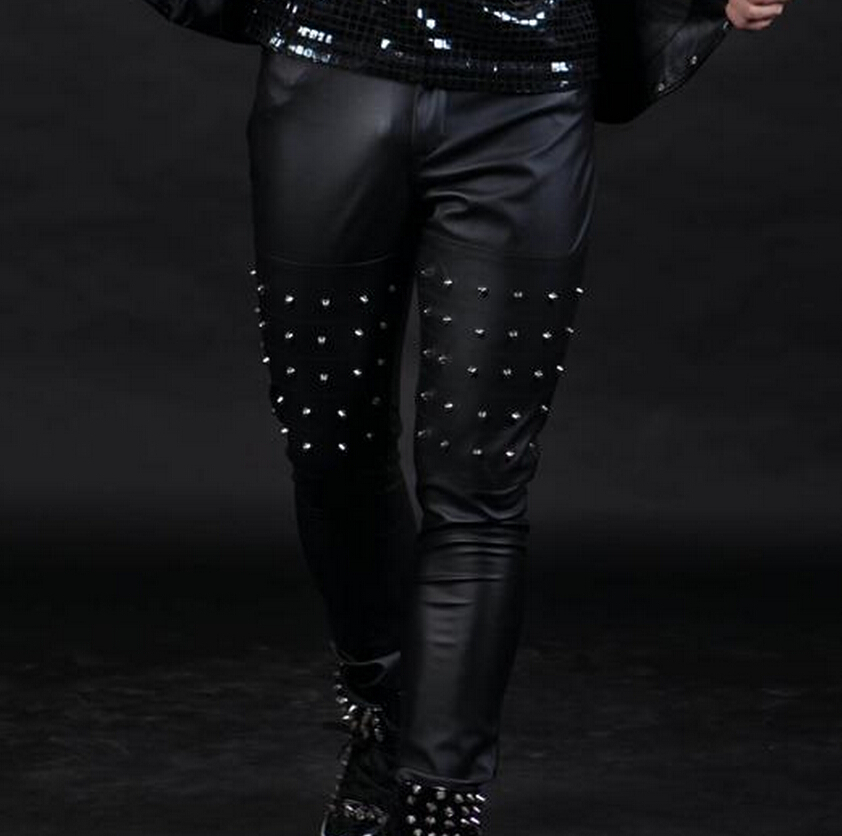2015 new fashion men bar dj singer DS trousers master of ceremonies man slim wedding ceremony