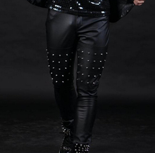 2015 new fashion men bar dj singer DS trousers master of ceremonies man slim wedding ceremony costumes rivet PU leather pants
