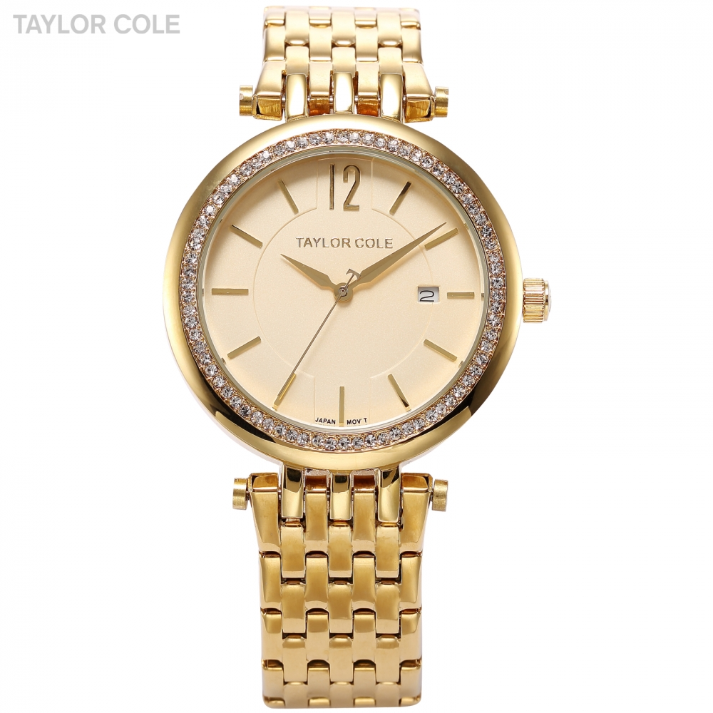 Gold Taylor Cole Brand Auto Date Display Muse Steel Strap Rhinestone Case Relogio Women Watch Bracelet Dress Wristwatch/ TC016 taylor cole relogio tc013