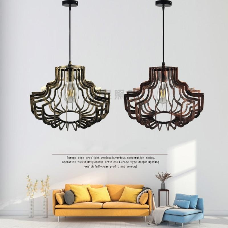 Européen rétro fer oiseau cage suspension lampe Vintage forgé E27 lanterne pendentif lumières pour Restaurant hôtel Villa thé couloir - 4