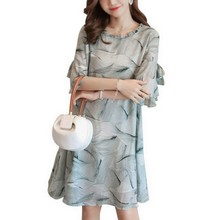 PLAMTEE Fashion Printed Pregnant Dress Summer Bow Hollow Out Maternity Chiffon Butterfly Sleeve Robe De Femme Premaman