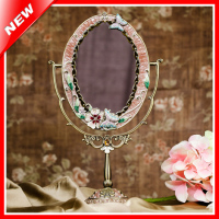 Antique Tin Alloy Vintage Beauty Makeup Mirror Woman Cosmetic Mirror Table Standing Dressing Mirror Home Decorative
