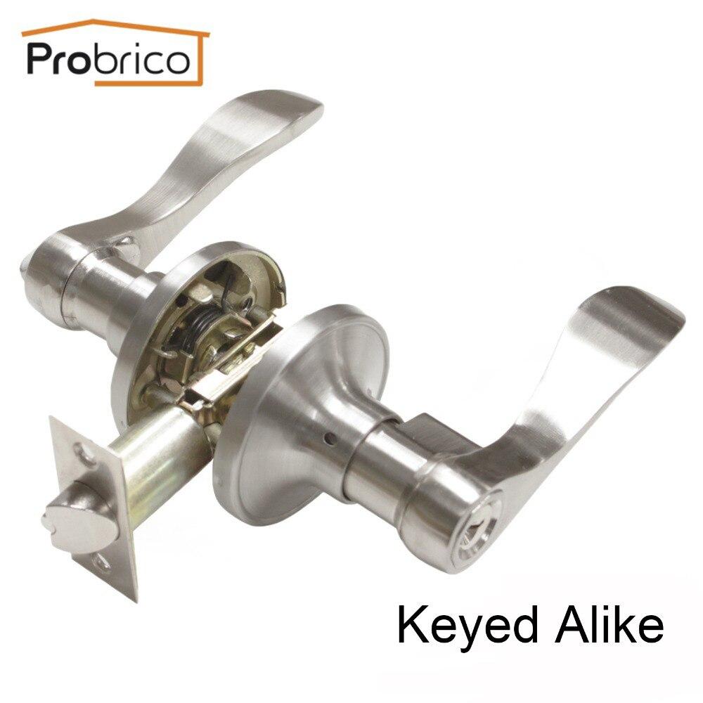 Probrico Keyed Alike Door Lock Stainless Steel Security Safe Brushed Nickel Door Handle Knob Entrance Locker DL12061SNET цена