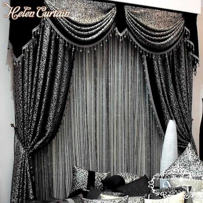 Helen Curtain European Style Grey Black Jacquard Curtain For living Room Curtain Valance Strip Tulle Window Treatments HC99