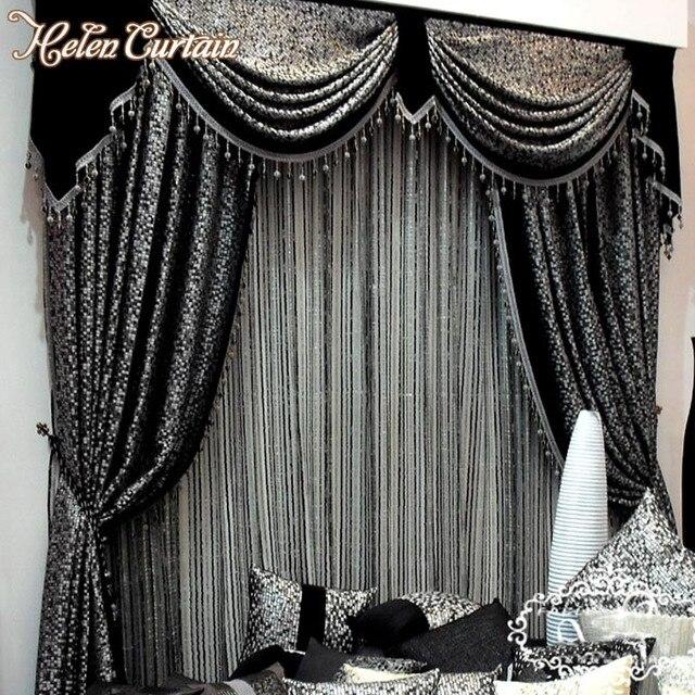 Helen Rideau Style Européen Gris Noir Jacquard Rideau Pour rideau de ...