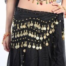 Женский красочный костюм танцовщицы живота, набедренный шарф, пояс с блестками, 58 монет, шифоновая юбка, одежда