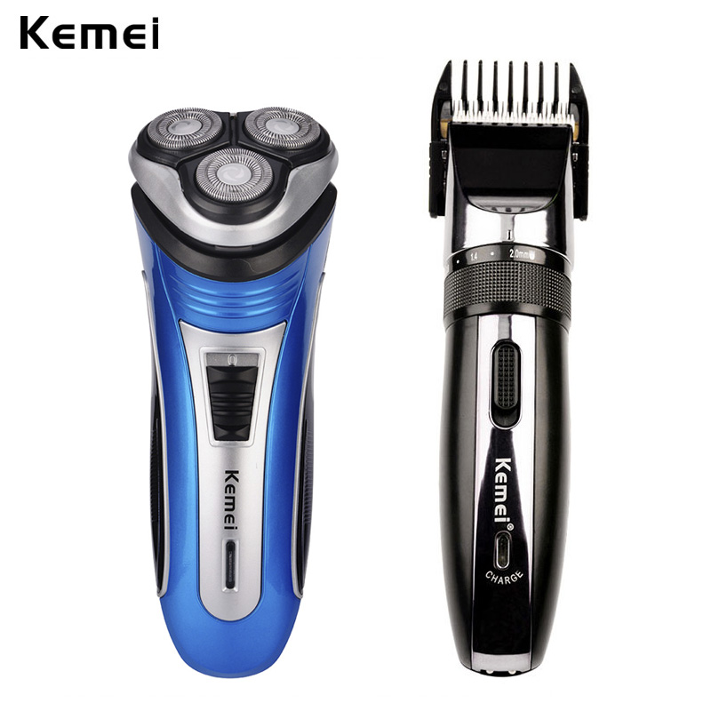 Kemei 3 Blades Men Electric Shaver Face Beard Shaving Travel Razor+Trimmer Professional Hair Clipper Adjustable Cordless Haircut tiny new professional men electric shaver razor beard hair clipper trimmer grooming ac 220 240v hair trimmer with eu plug