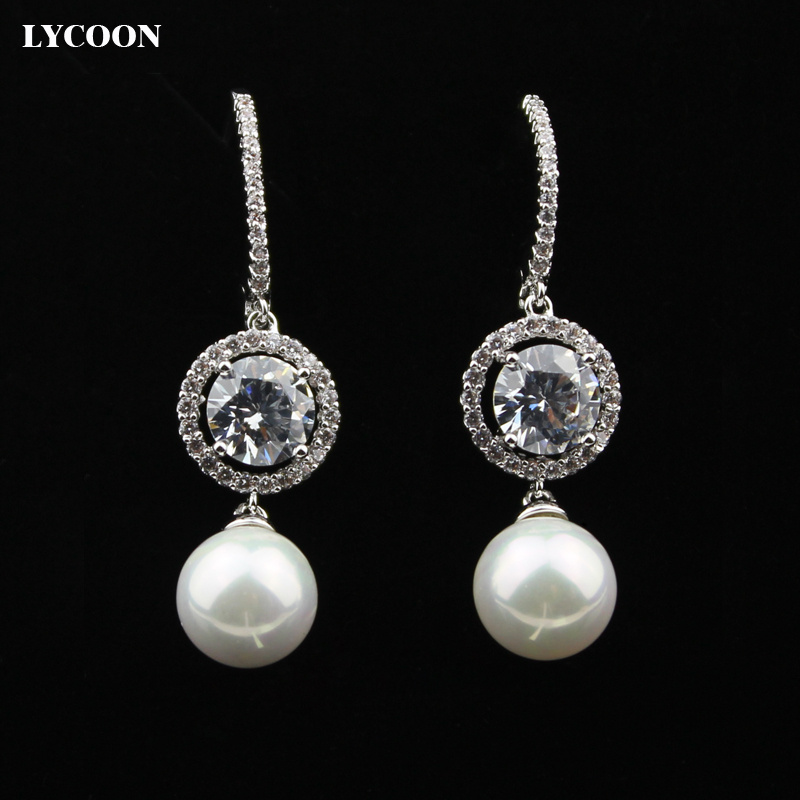 LYCOON 2016 newest fashion Luxury round pearl crystal Dangle Earrings Prong setting Cubic Zirconia drop Earring