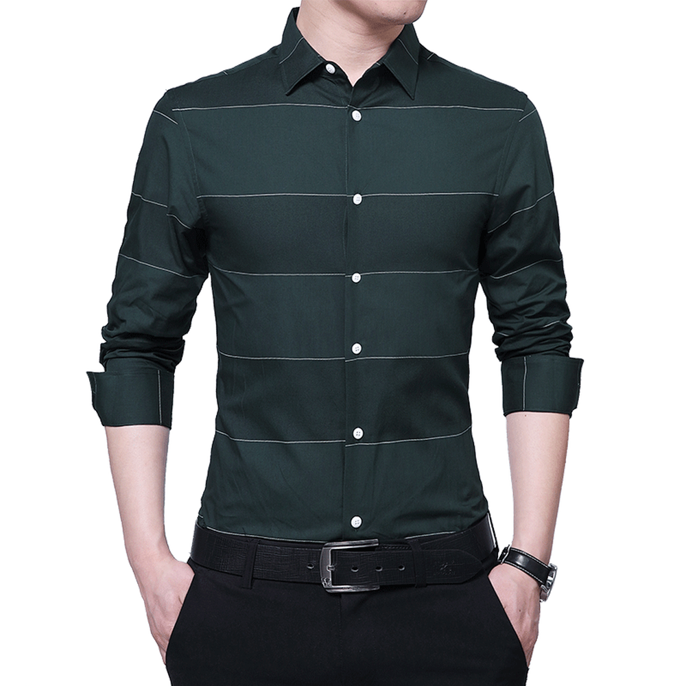 Fashion Men 39 s Shirts male Casual slim fit designer Long Sleeve striped Business Office Formal New Arrival Cotton Shirts in Casual Shirts from Men 39 s Clothing