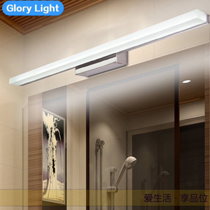 ФОТО GLORY LIGHT Modern bathroom stainless steel led mirror lights mirror cabinet wall lamp waterproof makeup sconces lighting