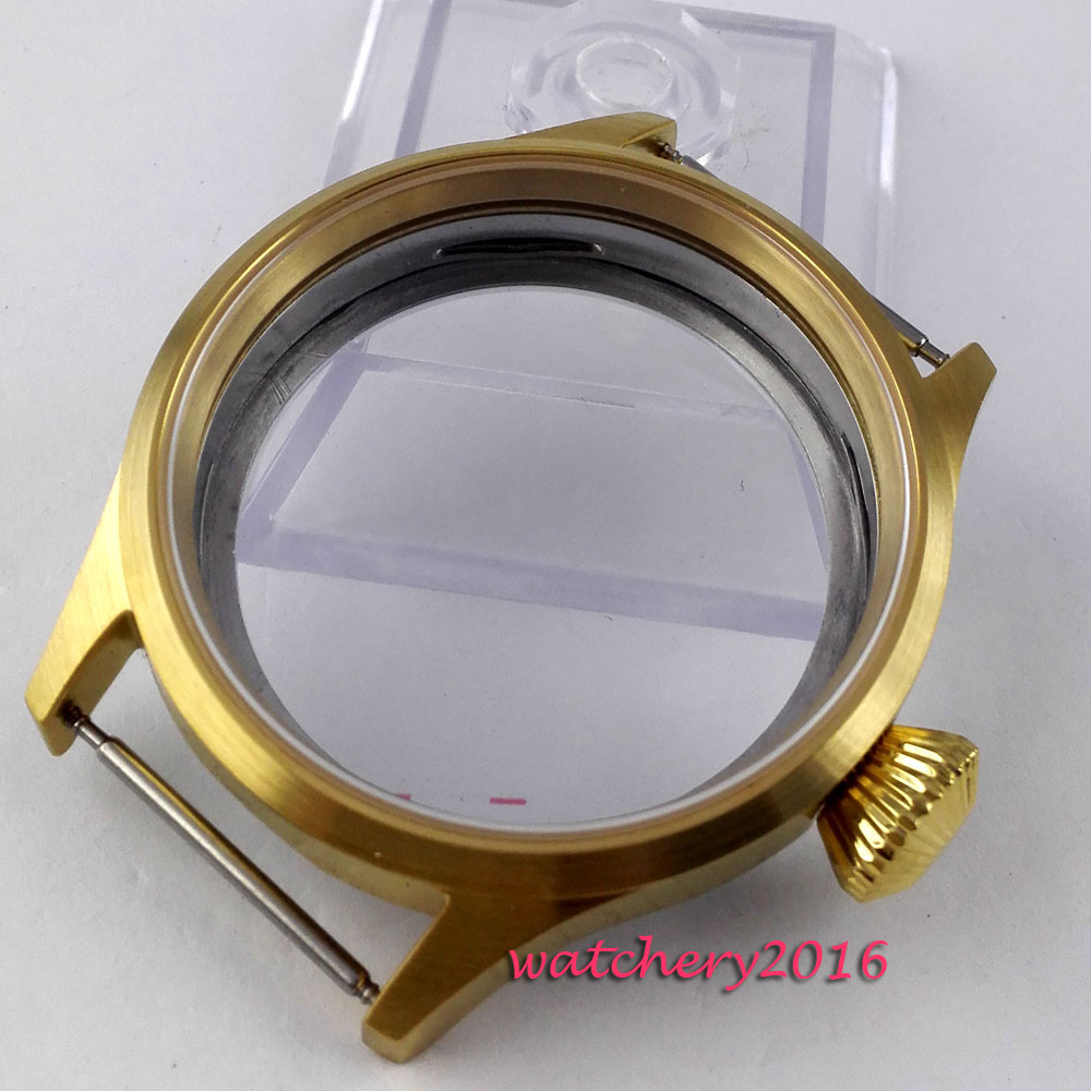 45mm parnis golden plated Watch CASE Sapphire Crystal top brand fit 6498 6497 eat movement hardened mineral glass watchcase 46mm parnis stainless steel hardened mineral glass yellow golden plated watch case fit eta 6497 6498 movement