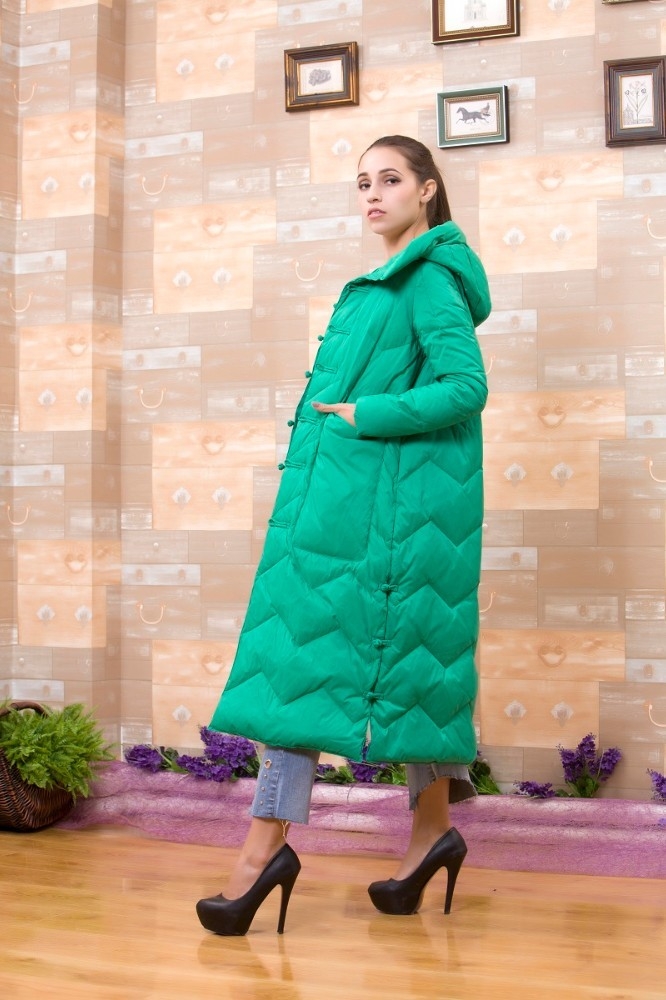 Women's Down Jackets Coats Winter Jacket Big Pockets Retro Hooded Thick Loose Single Breasted  Parkas Outwear Long Down Coats