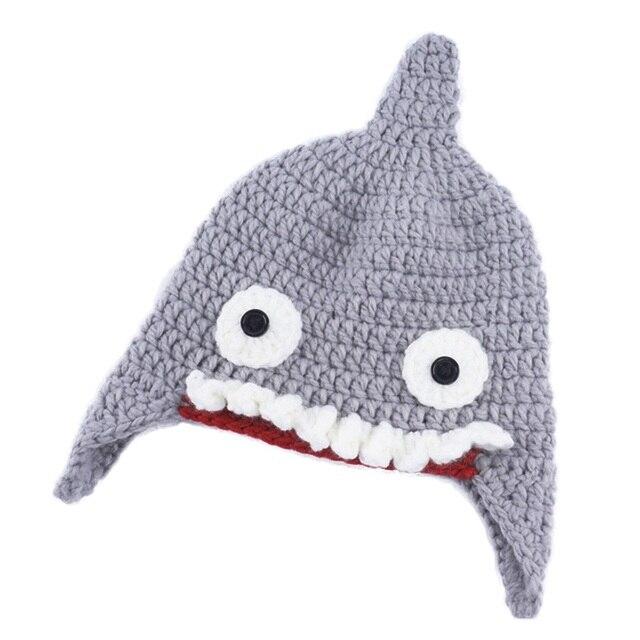 New Cute Winter Hat Ball Cap Shark shape children winter autumn warm  Knitted hat chapeau Kids b95d555fcfa