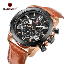 KADEMAN Luxury Men Wristwatches Sports Quartz Watch 2019 New Fashion Business Casual Leather Date Watches 3ATM TOP Brand Relogio