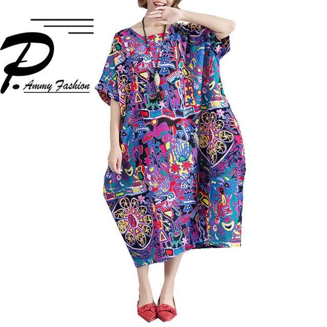 Lagenlook Cotton   Linen Jumper Graffiti Straight Dress Womens Summer Plus  Size voguees dresses Short Sleeve c44acd45e88e