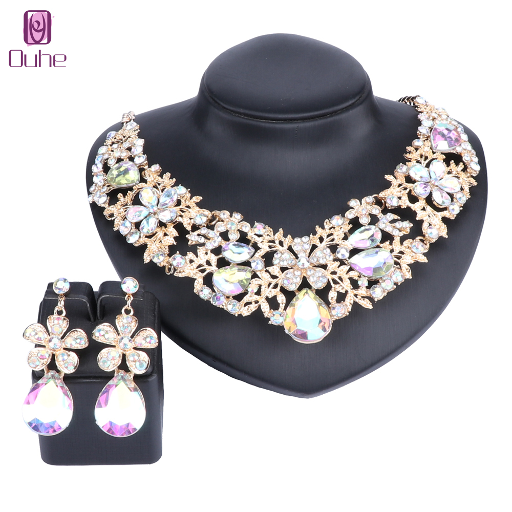 Fashion Full Clear Rhinestones Statement Necklace Earrings For Women Indian Bridal Wedding Accessories Decoration Jewelry Sets