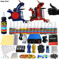 Solong Tattoo 2 Pro Machine Guns Tattoo Kit Power Supply Needle Grips 14 Ink Color Makeup