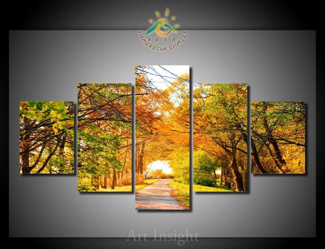5 Pieces/set Yellow woods Modern Wall Art For Wall Decor Home ...