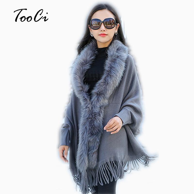 Fashion New Autumn Women Faux Fur Collar Cape Shawl Cardigan Gray Women Tassel Knit Cardigan Sweater Poncho Winter Warm Coat