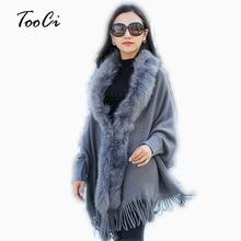 Модный осенний женский плащ с воротником из искусственного меха, серый женский вязаный кардиган с кисточками, свитер-пончо, зимнее теплое пальто