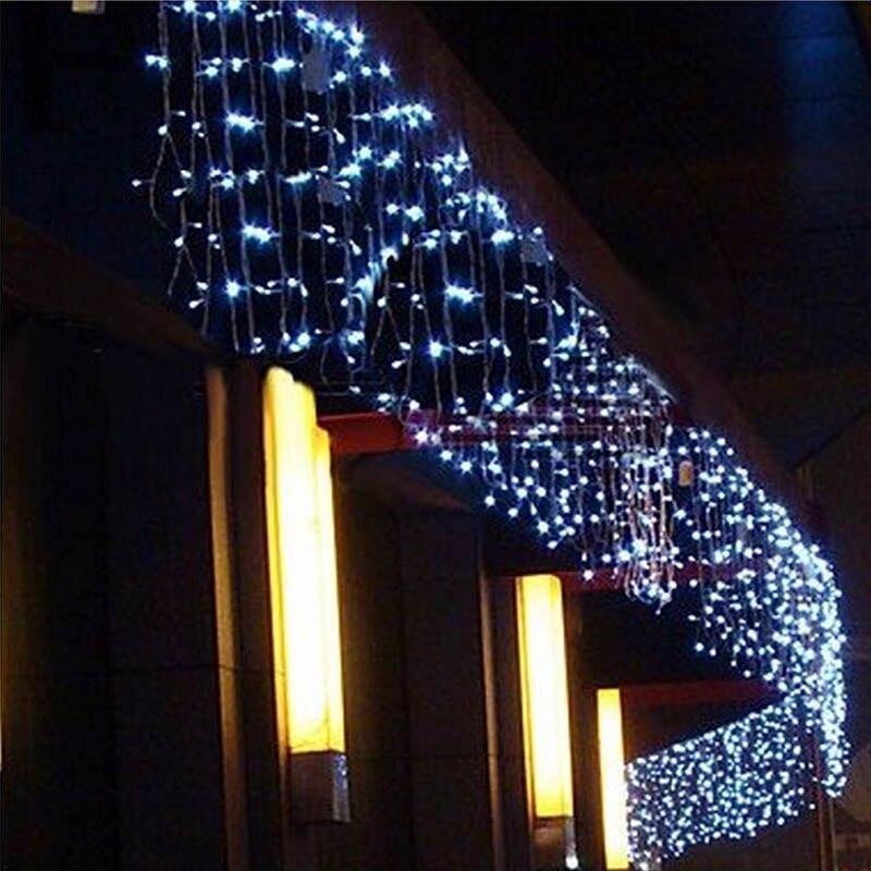 Navidad guirnalda LED cortina Icicle Cadena de luz 220 V 4,5 m 100 Leds interior gota LED jardín al aire libre de la etapa luz decorativa