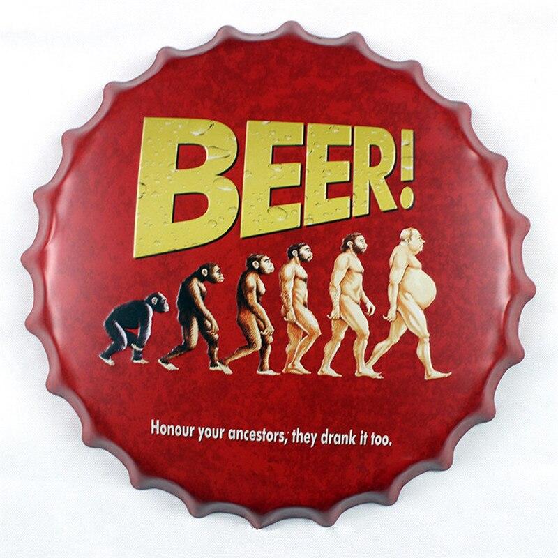 Bière! Honour vos ancêtres ils l'ont bu trop bouchon de bière décor maison 40 cm bouchon de bouteille Plaque métallique décorative Plaque Vintage Pub mur