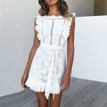 New 2019 White Lace Dress With Frill Detail Sweet Hollow Out Crochet Ladies Sundress Short Sunmer Casual Dress For Women недорого