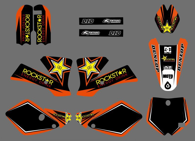 0525 NEW STYLE (Star )TEAM GRAPHICS & BACKGROUNDS DECALS STICKERS Kits For KTM SX 65 2002 2003 2004 2005 2006 2007 2008