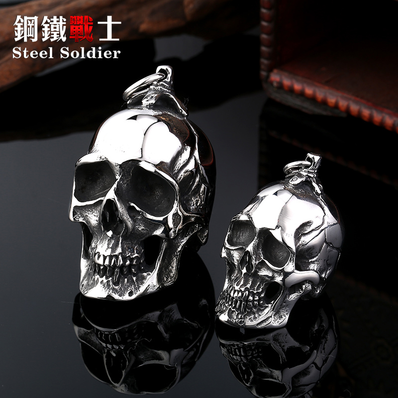 Steel soldier stainless steel men punk skull pendant domineering personality accessories jewelry