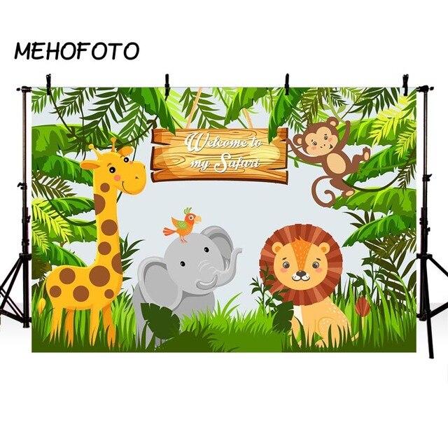 Jungle Safari Party Photo Backdrops Baby Happy Birthday Animal