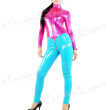 Free Shipping DHL Custom Made Adult Sexy Full Body Fuchsia and Blue PVC Zentai Catsuit Metallic Zentai Suit No Hood