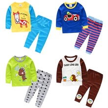2017 spring and autumn cartoon print pijamas kids 100% cotton pyjamas boy girl child sleep set casual clothing set