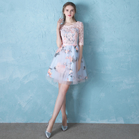 Sweet Pink Sheer Neck Lace Vestidos De Festa Print Flower Pleated Tulle A line Mini Homecoming Dresses Short Prom Party Gowns