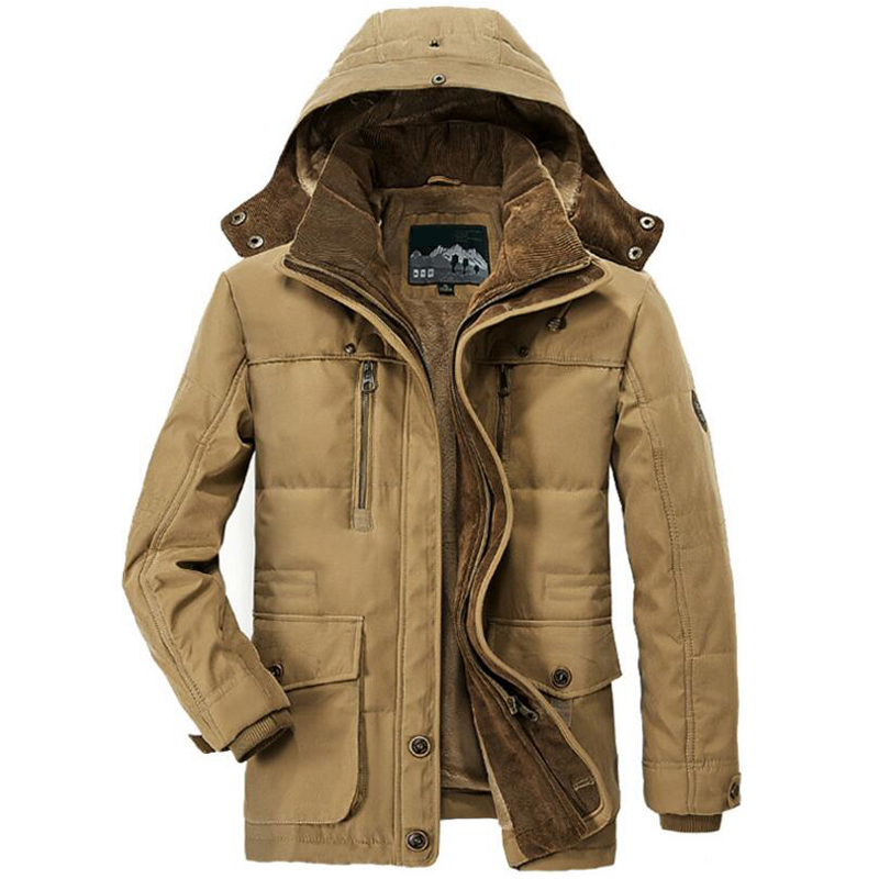 Winter Jacket Men Thick Warm Hooded Parka Military Cargo Mens Winter Coat Warm Fleece Male Overcoat