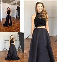 Neue Ankunft Schwarz Zwei Stücke Abendkleid mit Gefrieste Elegante Sweep Zug Abendkleid
