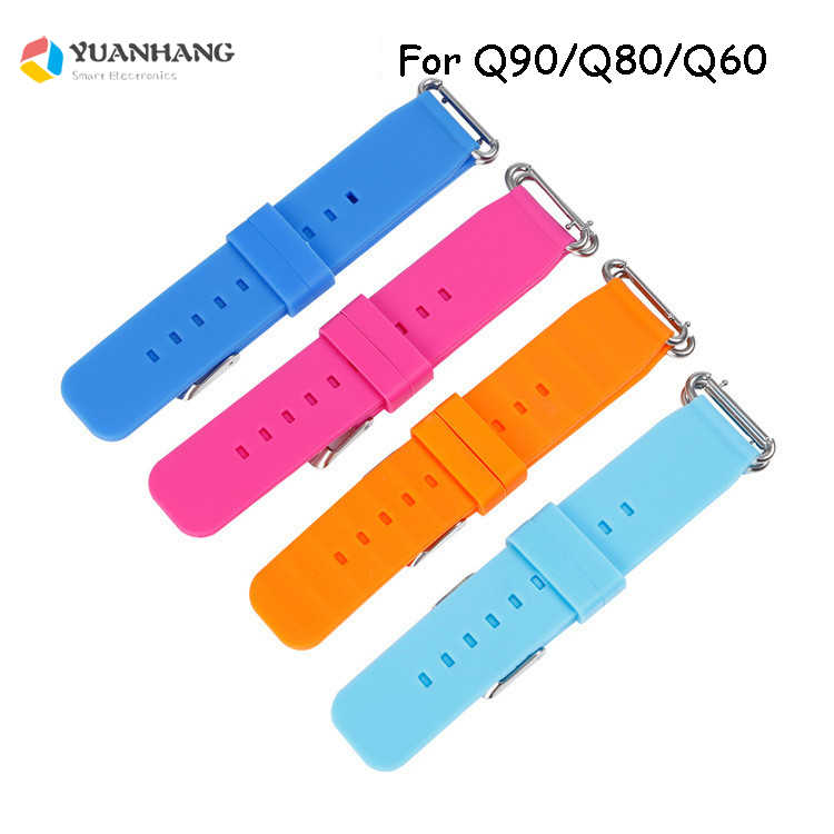Replace Smart Watch Strap for Q90 Q80 Q60 Q100 Q750S Strap Children's GPS Tracker Watchband Silicone Wrist Belt with Connection