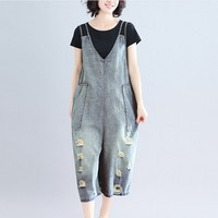 2019 Summer Autumn Rompers Womens Jumpsuits Vintage Sleeveless Backless Casual Loose Solid Overalls Strapless Paysuits